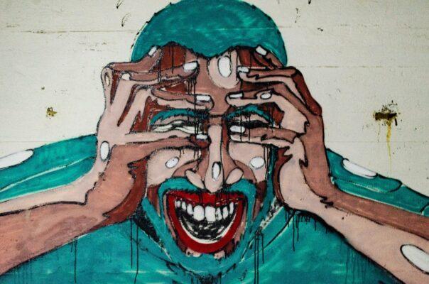 Pintura de um homem com barba apresentando medo do networking. Será?