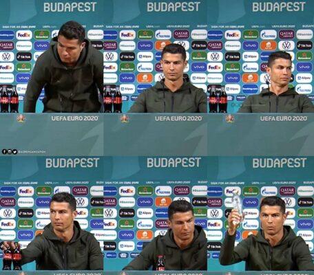 Cristiano Ronaldo troca coca-cola por água